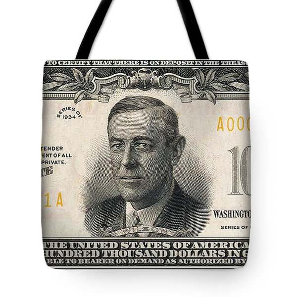 Tote Bag featuring the digital art U.s. One Hundred Thousand Dollar Bill - 1934 $100000 Usd Treasury Note  by Serge Averbukh