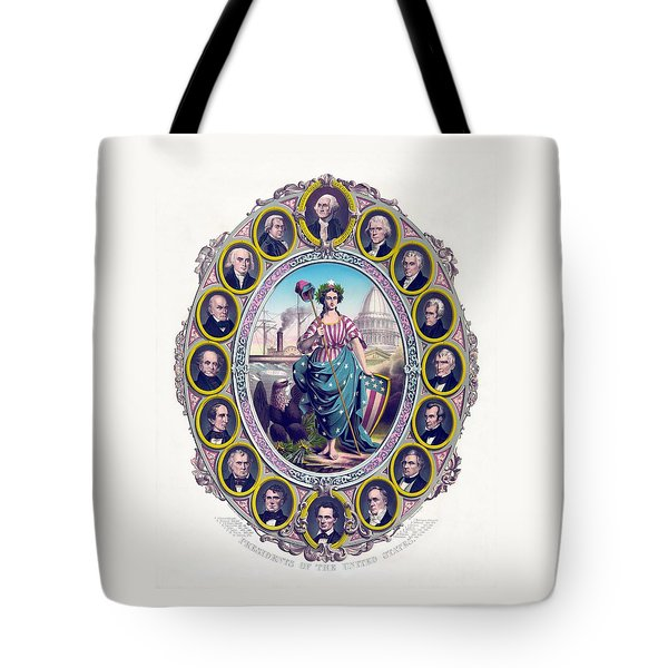 Us Presidents And Lady Liberty  Tote Bag by War Is Hell Store