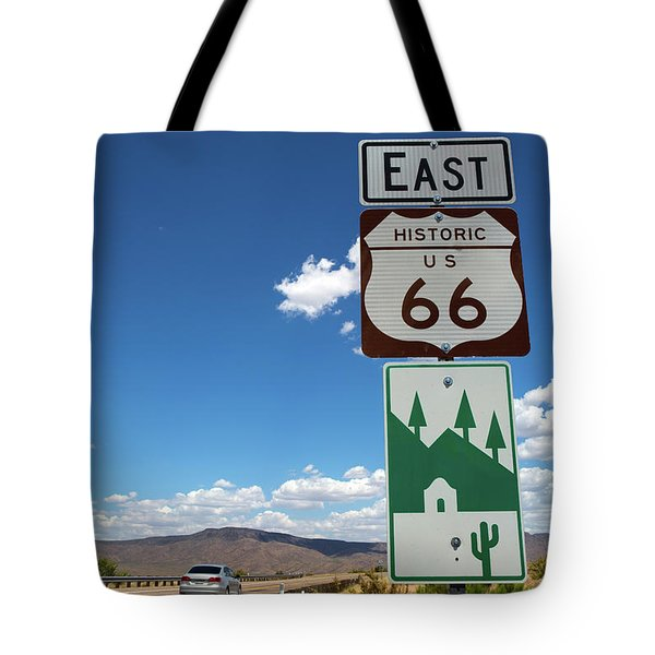 Tote Bag featuring the photograph Us Route 66 Sign Arizona by Steven Frame
