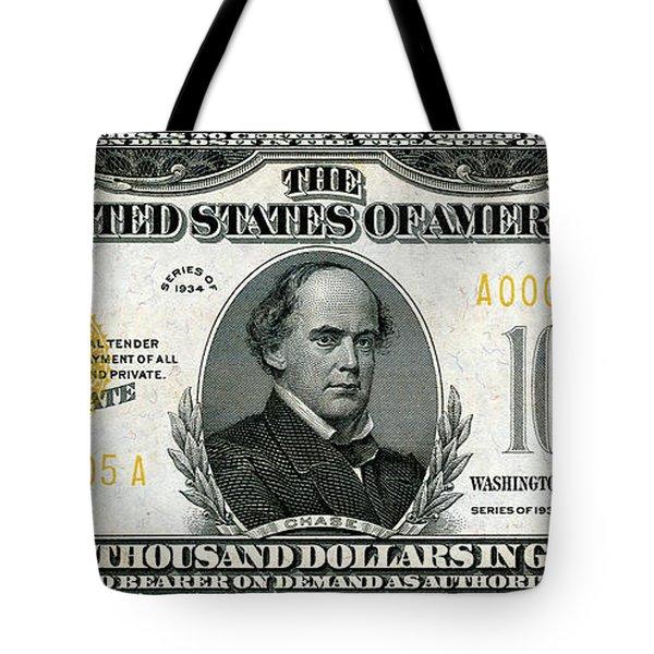 Tote Bag featuring the digital art U.s. Ten Thousand Dollar Bill - 1934 $10000 Usd Treasury Note by Serge Averbukh