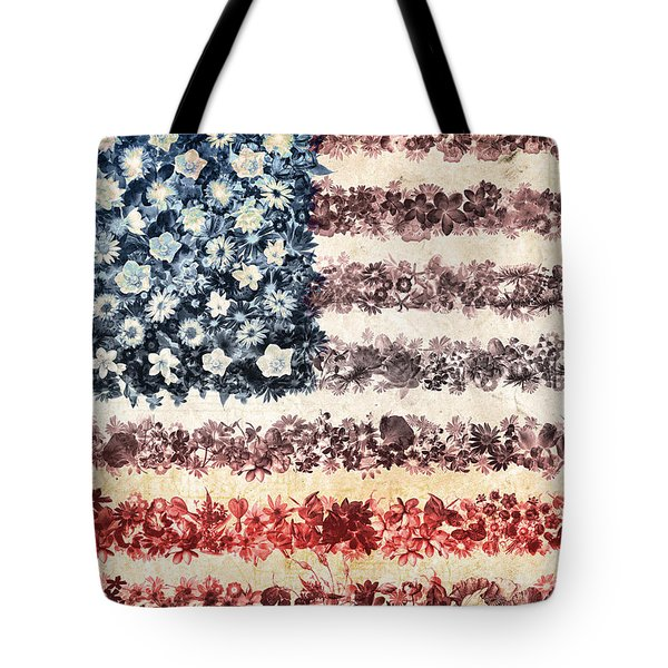 Usa Flag Floral 3 Tote Bag