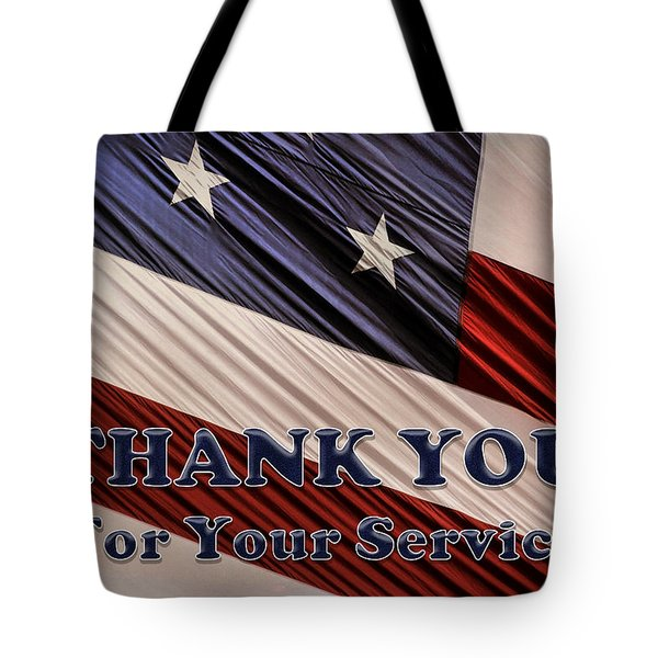 Usa Military Veterans Patriotic Flag Thank You Tote Bag