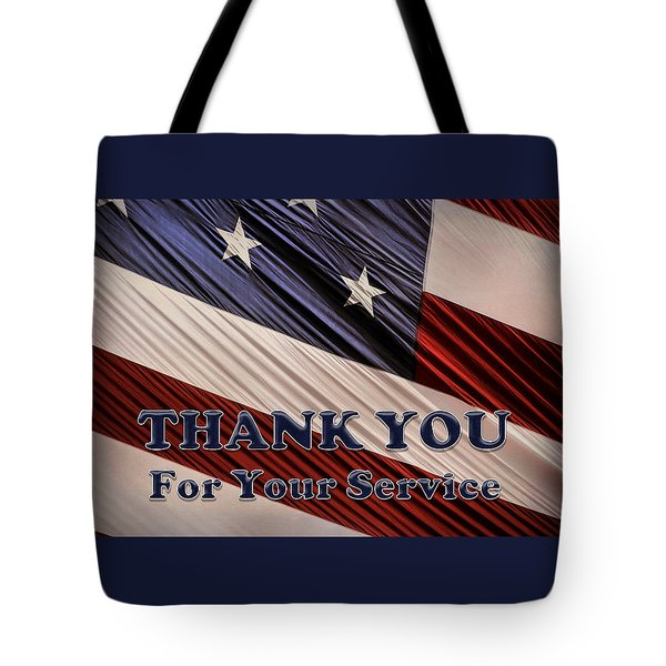 Tote Bag featuring the photograph Usa Military Veterans Patriotic Flag Thank You by Shelley Neff