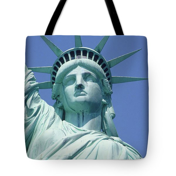 Usa, New York, Statue Of Liberty, Upper Section, Low Angle View Tote Bag