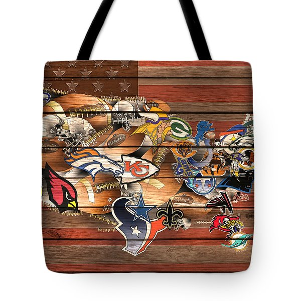 Usa Nfl Map Collage 6 Tote Bag