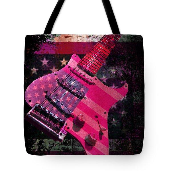 Usa Pink Strat Guitar Music Tote Bag