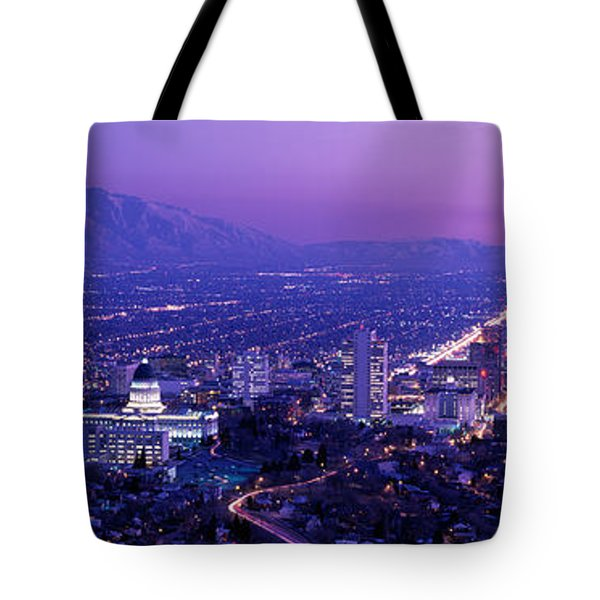 Usa, Utah, Salt Lake City, Aerial, Night Tote Bag