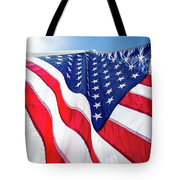 Tote Bag featuring the photograph Usa,american Flag,rhe Symbolic Of Liberty,freedom,patriotic,hono by Jingjits Photography
