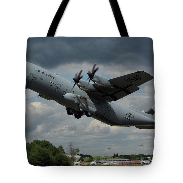 Usaf Lockheed-martin C-130j-30 Hercules  Tote Bag by Tim Beach