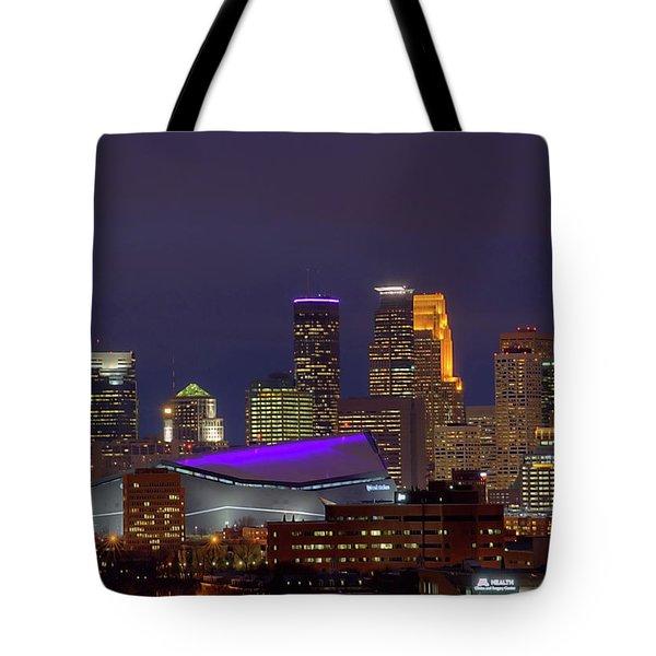 Usbank Stadium Dressed In Purple Tote Bag