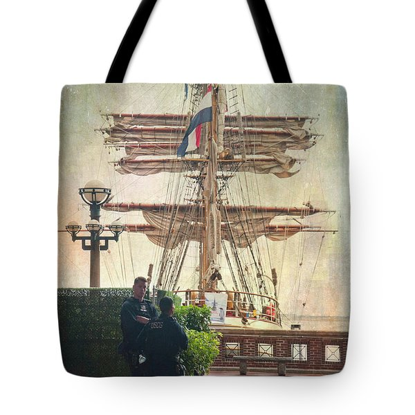 Tote Bag featuring the photograph Uscg Watching Over Boston Harbor by Joann Vitali