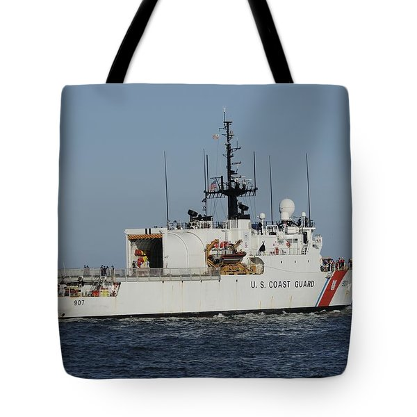Tote Bag featuring the photograph Uscgc Escanaba Heads To Sea by Bradford Martin