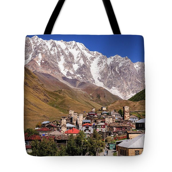 Ushguli And  Shkhara Mount Tote Bag by Sergey Simanovsky
