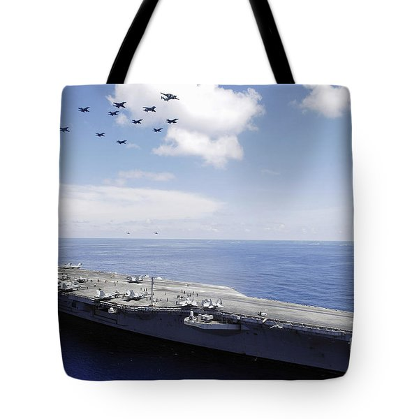Uss Abraham Lincoln And Aircraft Tote Bag