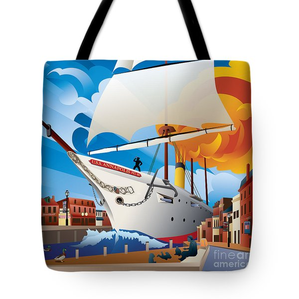 Uss Annapolis In Ego Alley Tote Bag
