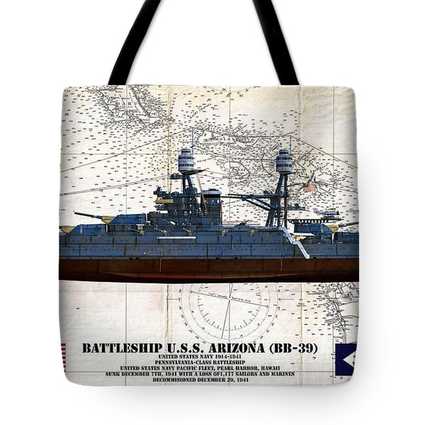 Uss Arizona Bb-39 Profile Art Tote Bag