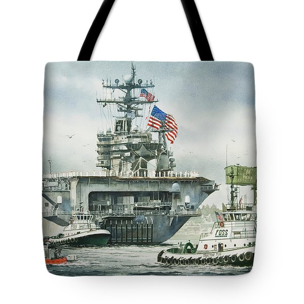 Uss Carl Vinson Tote Bag by James Williamson