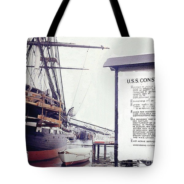 Tote Bag featuring the photograph U.s.s. Constitution At Dock - Boston Harbor by Merton Allen