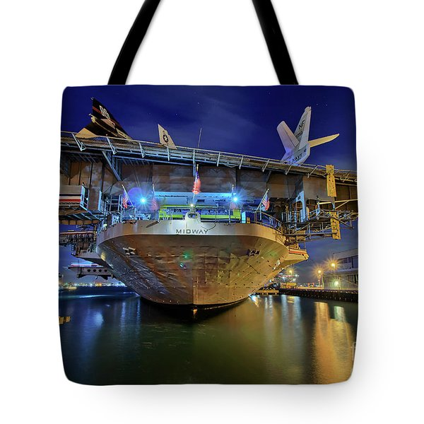 Tote Bag featuring the photograph Uss Midway Aircraft Carrier  by Sam Antonio Photography