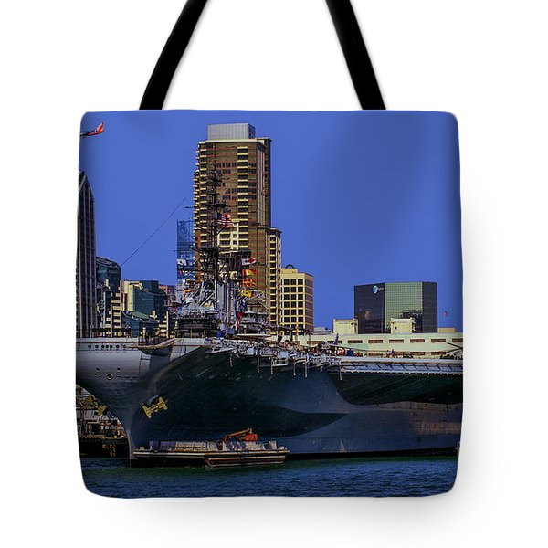 Uss Midway San Diego Ca Tote Bag by Tommy Anderson