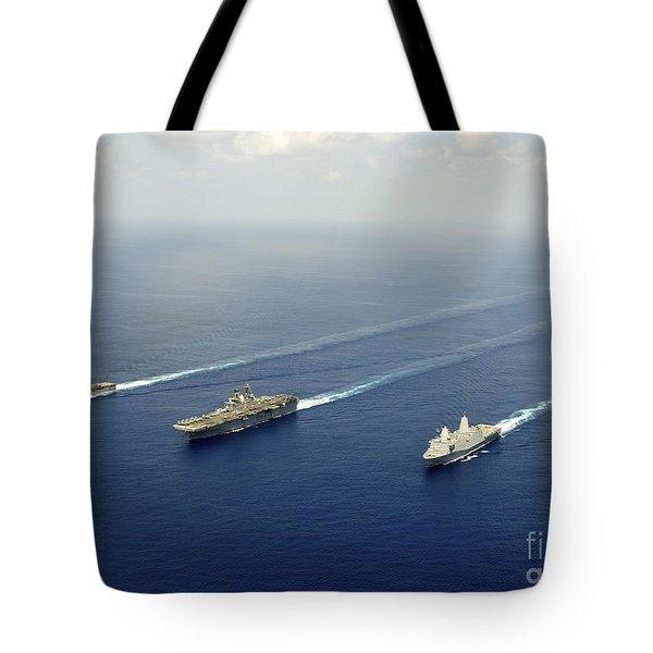 Uss Pearl Harbor, Uss Makin Island Tote Bag by Stocktrek Images