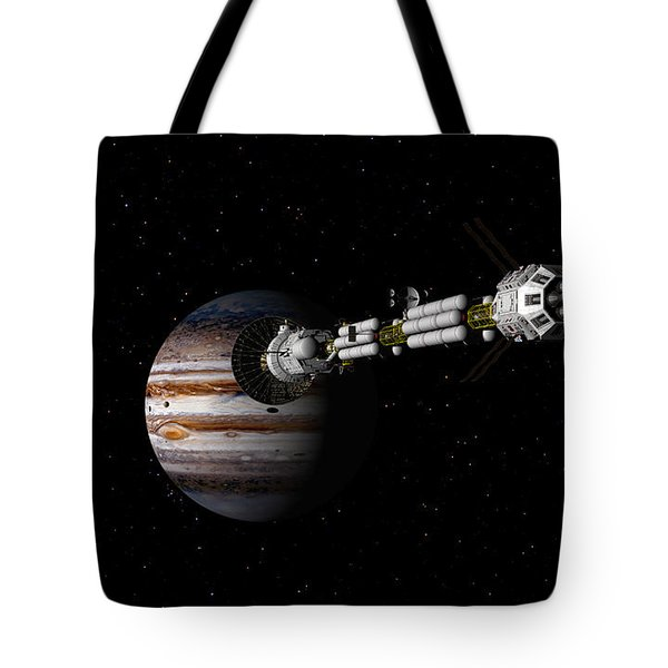 Tote Bag featuring the digital art Uss Savannah Approaching Jupiter by David Robinson