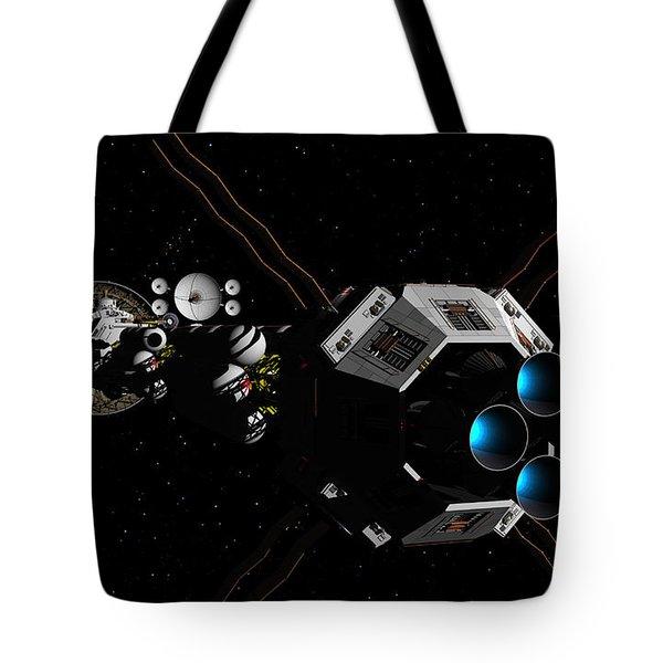 Tote Bag featuring the digital art Uss Savannah In Deep Space by David Robinson