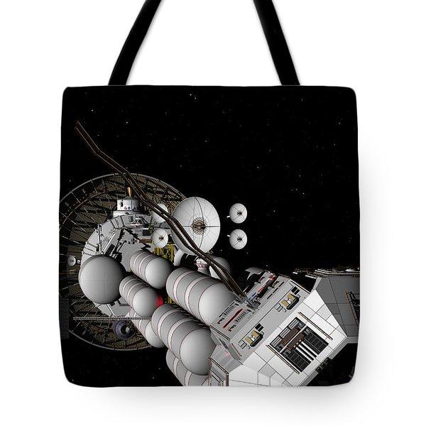 Tote Bag featuring the digital art Uss Savannah Nearing Jupiter by David Robinson