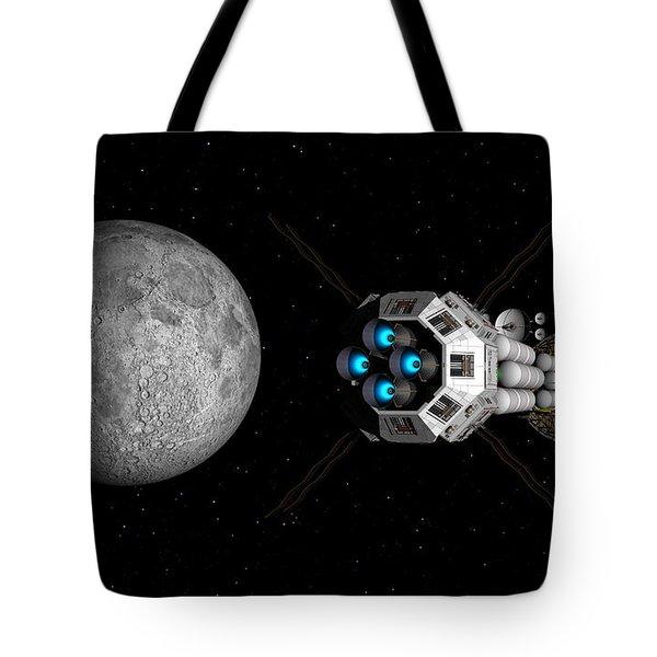 Tote Bag featuring the digital art Uss Savannah Passing Earth's Moon by David Robinson