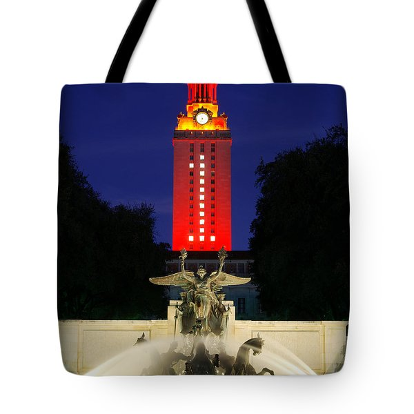 Tote Bag featuring the photograph Ut Austin Tower Orange by Lisa  Spencer