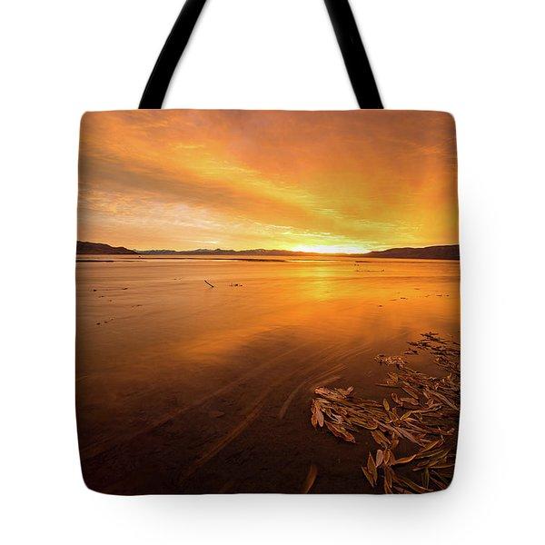 Utah Lake Sunset Tote Bag