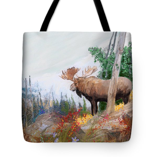 734b40bb0531 Tote Bag featuring the painting Utah Moose by Craig Nelson