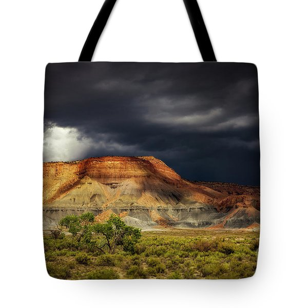 Tote Bag featuring the photograph Utah Mountain With Storm Clouds by John A Rodriguez