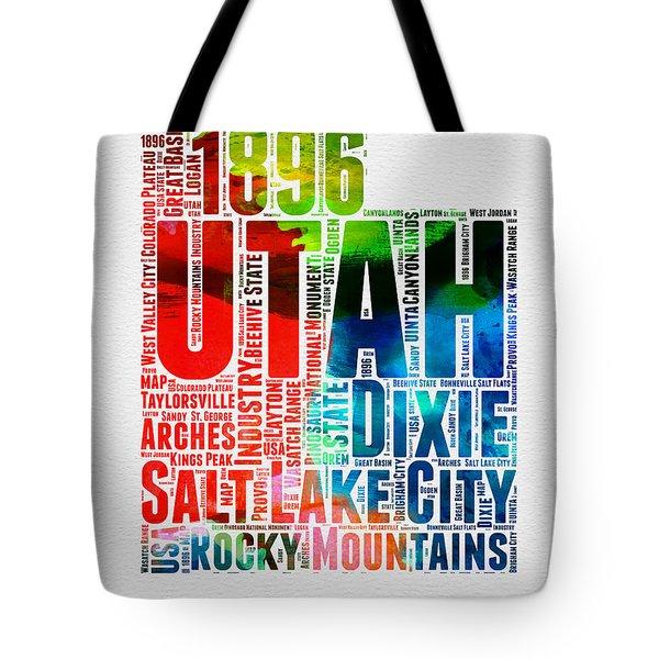 Utah Watercolor Word Cloud Map Tote Bag