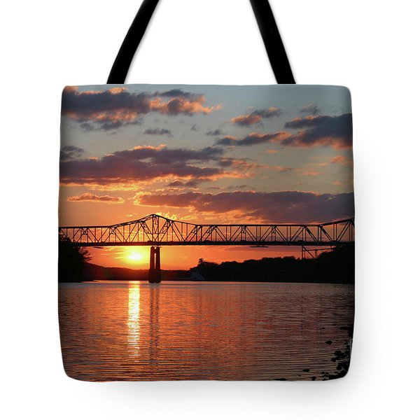 Utica Bridge At Sunset Tote Bag