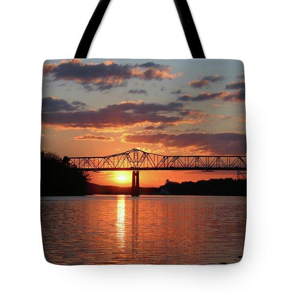 Utica Bridge Sunset Tote Bag