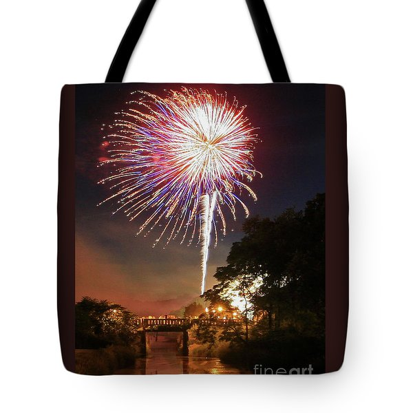 Tote Bag featuring the photograph Utica Fireworks by Paula Guttilla