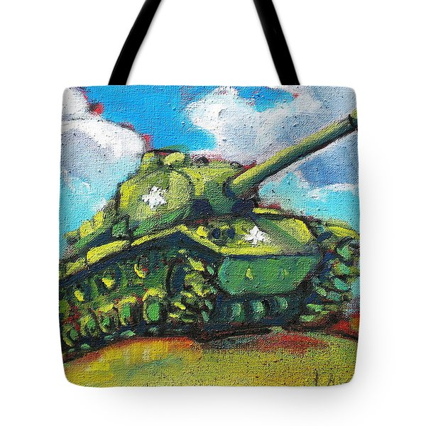 Tote Bag featuring the painting V. F. W. Tank by Les Leffingwell
