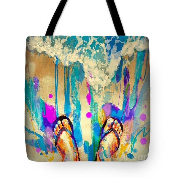 Tote Bag featuring the painting Vacation Time by Tithi Luadthong
