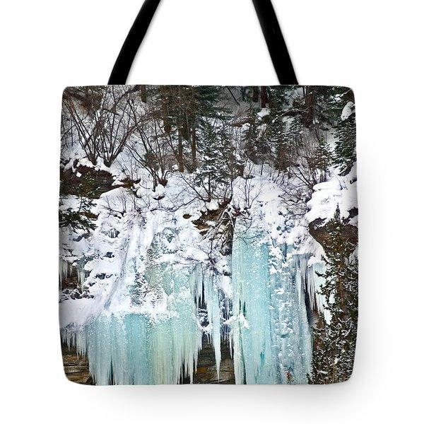 Vail Ice Falls Tote Bag by David Salter
