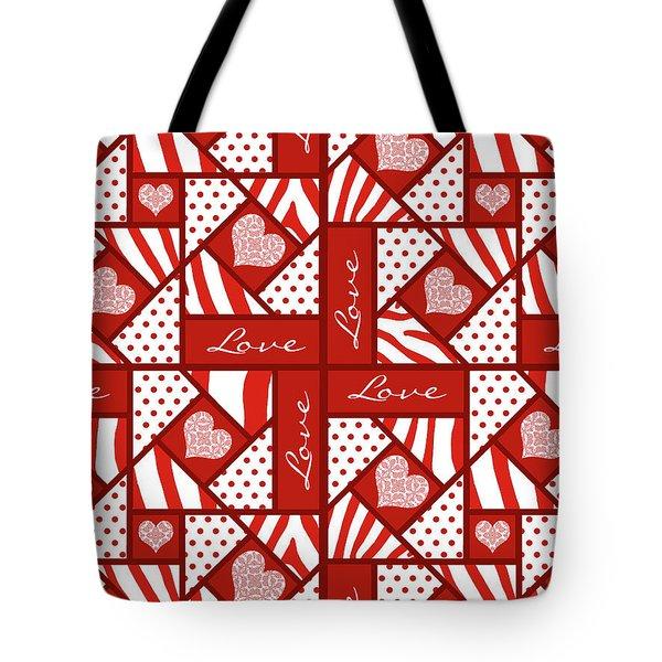 Valentine 4 Square Quilt Block Tote Bag
