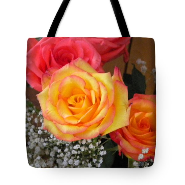 Tote Bag featuring the painting Valentine's Day Roses 2 by Renate Nadi Wesley