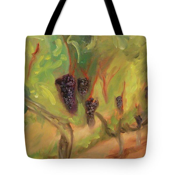 Tote Bag featuring the painting Valhalla Vineyard by Donna Tuten