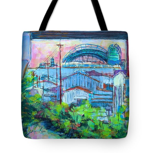 Tote Bag featuring the painting Valley Below by Les Leffingwell