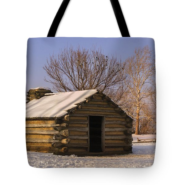 Valley Forge Cabin At Sunset Tote Bag by Rima Biswas