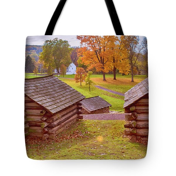 Valley Forge Huts In Fall Tote Bag