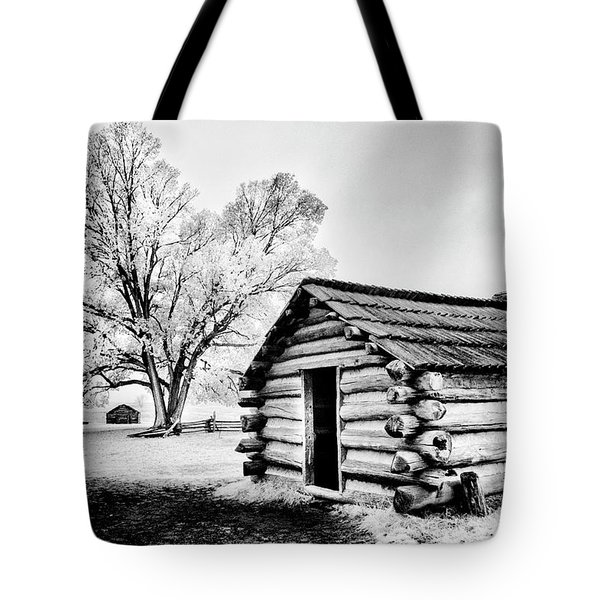 Tote Bag featuring the photograph Valley Forge Winter Troops Hut                           by Paul W Faust - Impressions of Light