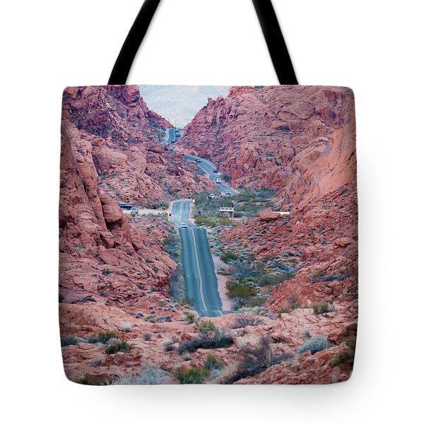 Valley Of Fire Drive Tote Bag by Rae Tucker