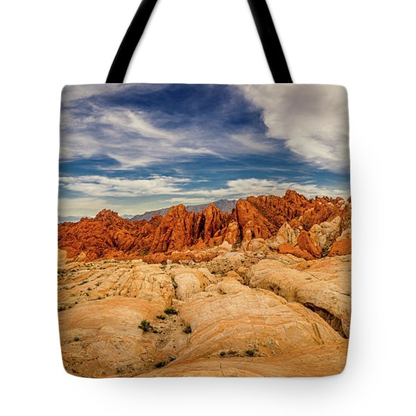Tote Bag featuring the photograph Valley Of Fire Panorama by Rikk Flohr