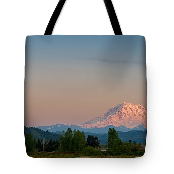 Valley Sunset Of Mt Rainier Tote Bag by Ken Stanback